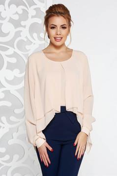Bluza dama crem eleganta cu croi larg din voal maneci largi