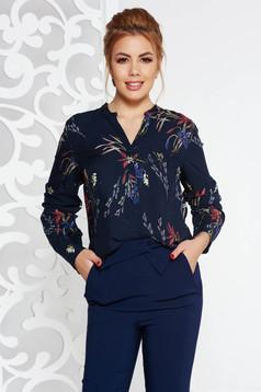 Bluza dama albastra-inchis office cu croi larg din material vaporos cu imprimeu floral