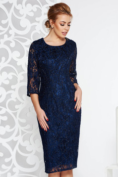 Rochie albastra-inchis de ocazie tip creion din dantela