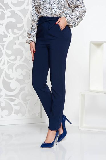 Pantaloni LaDonna albastri-inchis office cu talie inalta din stofa usor elastica cu buzunare