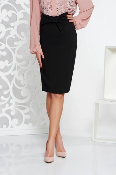 Fusta LaDonna neagra eleganta cu talie inalta tip creion din stofa usor elastica