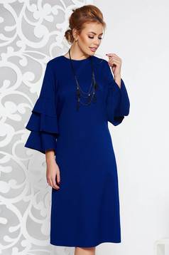 Rochie albastra eleganta cu croi larg din stofa neelastica cu volanase la maneca cu accesoriu inclus