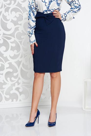 Fusta LaDonna albastra-inchis eleganta cu talie inalta tip creion din stofa usor elastica