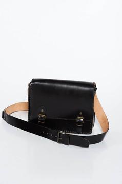 Geanta dama neagra casual din piele naturala cu maner lung reglabil cu un compartiment cu buzunar interior