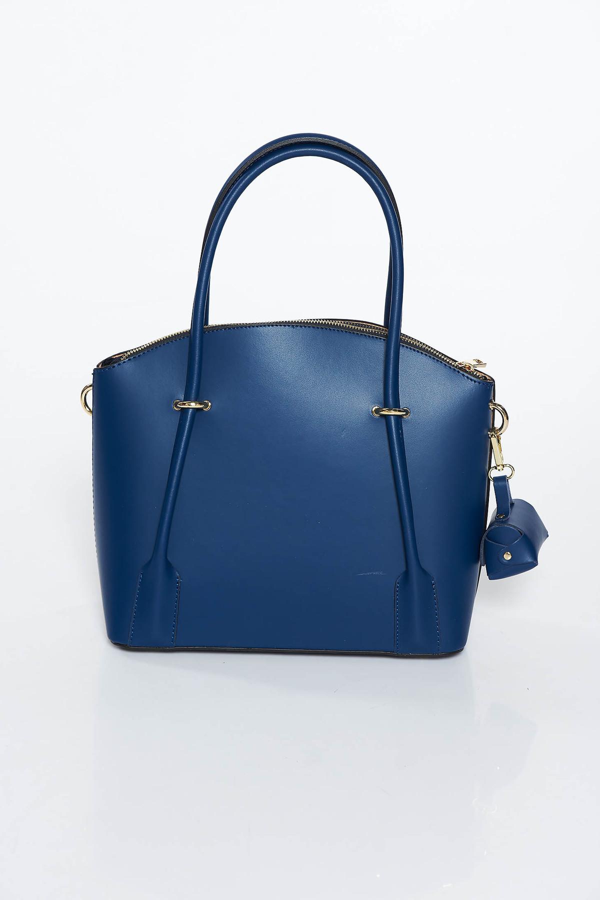 Geanta dama albastra-inchis office din piele naturala cu doua compartimente si buzunare interioare