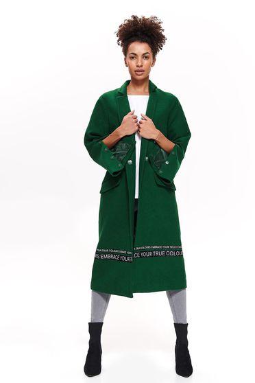 Palton Top Secret verde casual cu croi larg din stofa neelastica