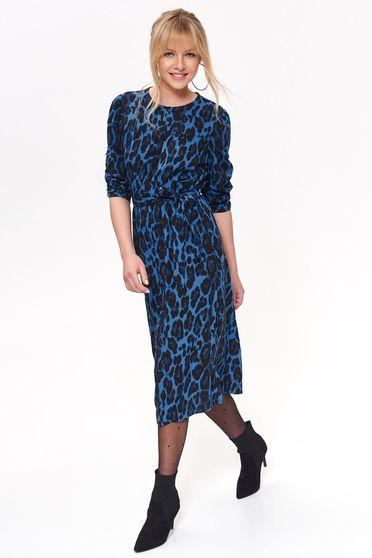 Rochie Top Secret albastra de zi midi croi in clos cu elastic in talie din material vaporos animal print