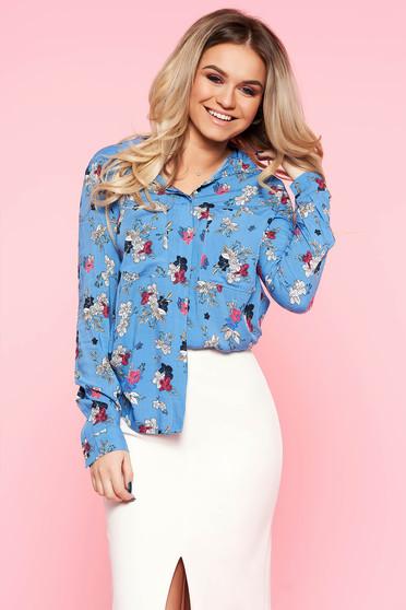 Camasa dama Top Secret albastra casual cu croi larg cu maneci lungi din material vaporos cu imprimeu floral