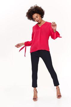 Bluza dama Top Secret roz office cu croi larg cu maneca 3/4 cu decolteu in v