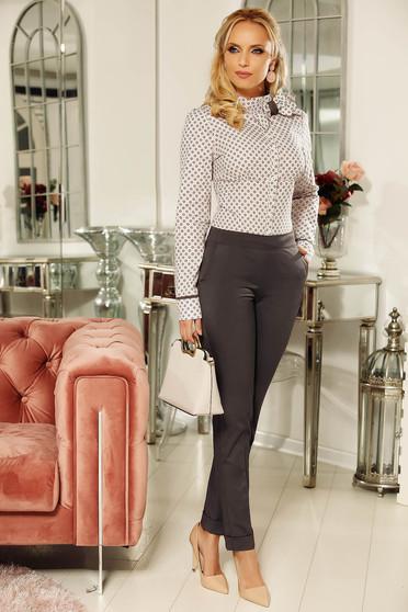 Pantaloni gri inchis office Fofy cu talie medie cu un croi drept din bumbac usor elastic