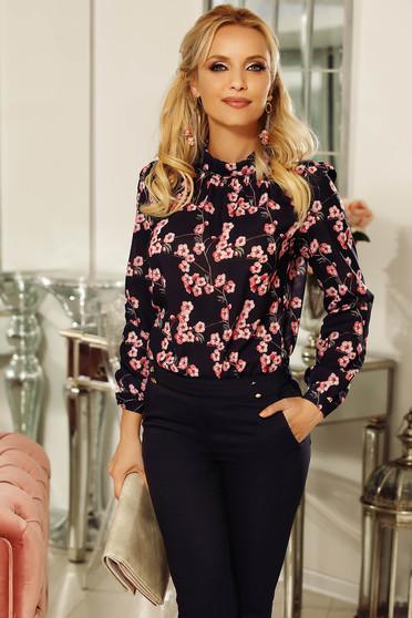 Bluza dama Fofy rosa eleganta cu croi larg din voal cu imprimeuri florale