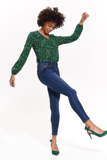 Pantaloni Top Secret albastri casual cu talie medie din bumbac usor elastic