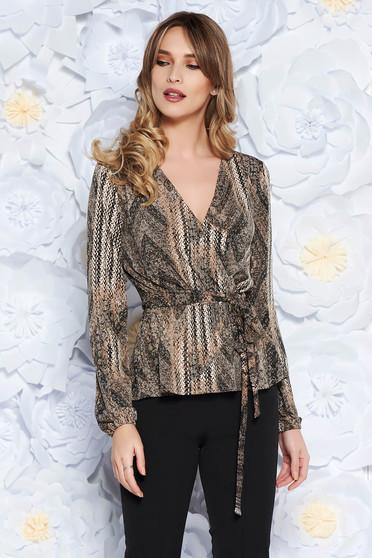 Bluza dama StarShinerS maro casual din material subtire cu decolteu in v accesorizata cu cordon