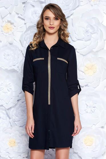 Rochie albastra-inchis casual cu croi larg din material usor elastic cu aplicatii stralucitoare