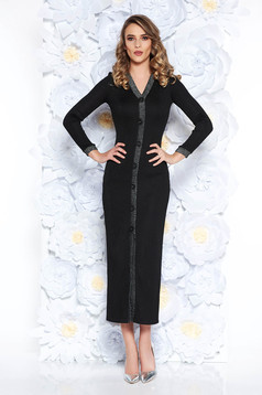 Rochie neagra de party cu un croi mulat din material usor elastic captusita pe interior
