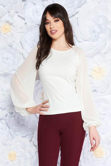 Bluza dama StarShinerS alba eleganta cu un croi mulat din material usor elastic cu maneci din voal