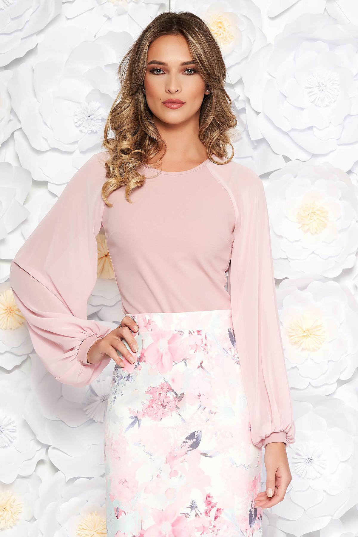 Bluza dama StarShinerS roz eleganta cu un croi mulat din material usor elastic cu maneci din voal