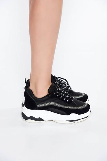 Pantofi sport negru casual cu talpa joasa si usoara cu siret