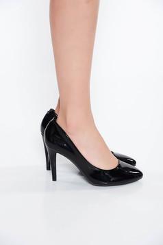 Pantofi negru office din piele ecologica lacuita cu varful usor rotunjit