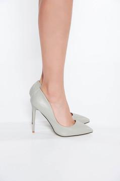 Pantofi gri stiletto office din piele ecologica cu toc inalt cu varful usor ascutit
