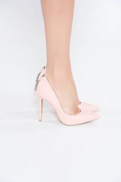 Pantofi roz deschis elegant cu varful usor ascutit accesorizata cu pietre stras