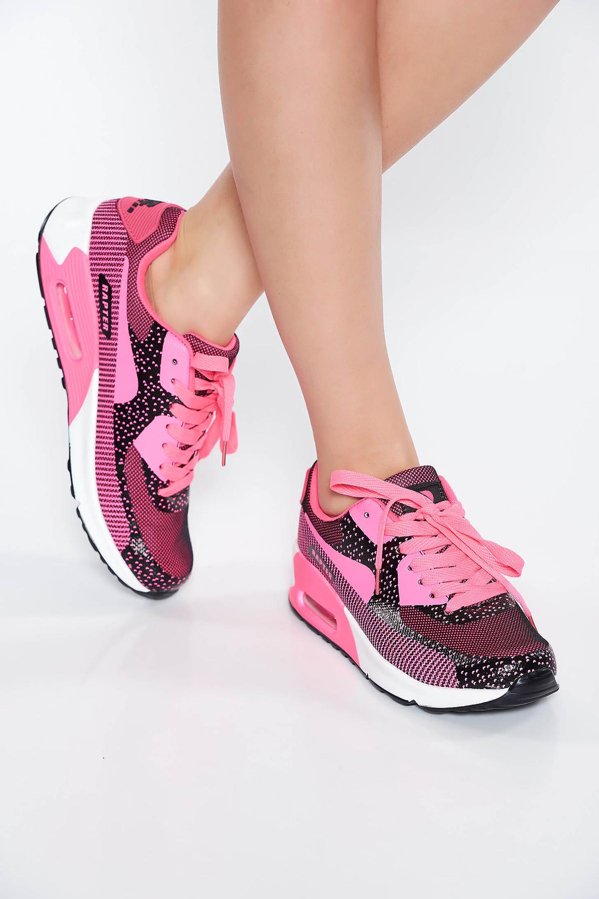 Pantofi sport roz casual cu talpa joasa si usoara cu siret