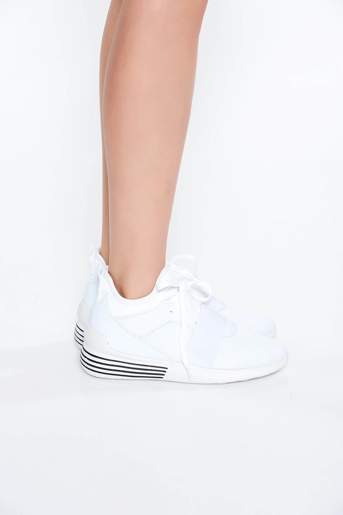Pantofi sport alb casual cu talpa joasa cu siret