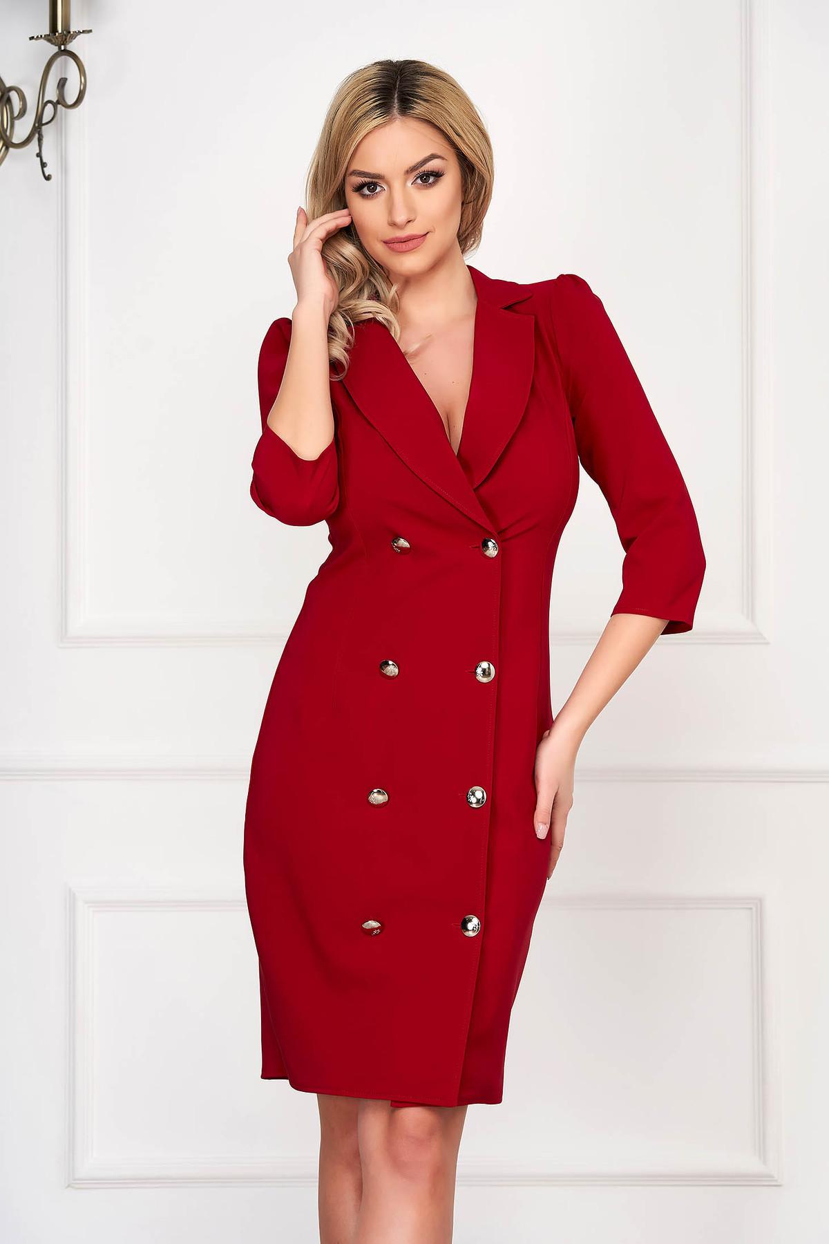 Rochie Artista rosie eleganta petrecuta tip sacou din stofa usor elastica accesorizata cu nasturi Artista