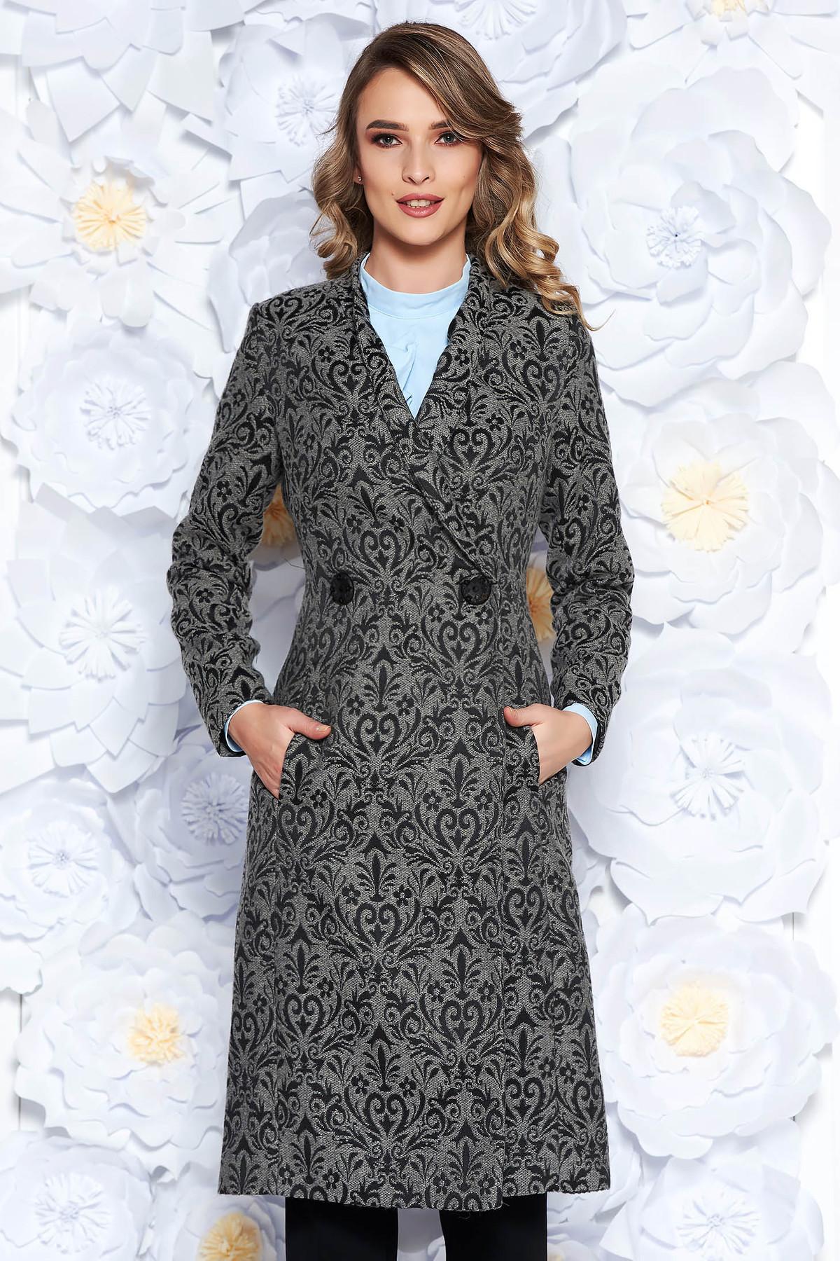 Trench LaDonna gri elegant cambrat din stofa usor elastica captusit pe interior cu model in relief