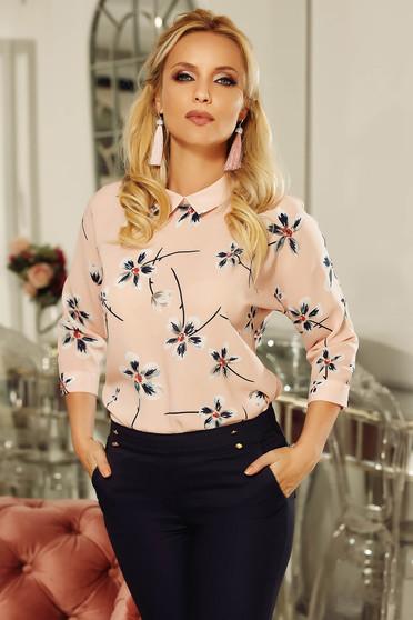 Bluza dama Fofy rosa eleganta cu croi larg din material vaporos cu imprimeu floral