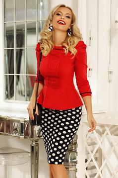 Camasa dama Fofy rosie office cu un croi mulat din bumbac usor elastic accesorizata cu nasturi