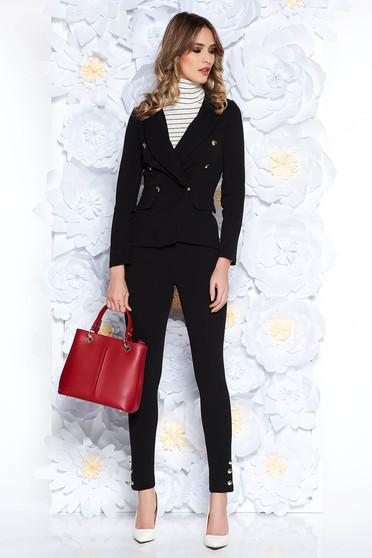 Compleu SunShine negru office din material elastic si fin captusit pe interior cu sacou cambrat si pantaloni conici