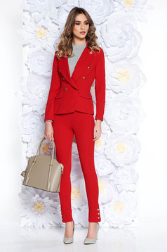 Compleu SunShine rosu office din material elastic si fin captusit pe interior cu sacou cambrat si pantaloni conici