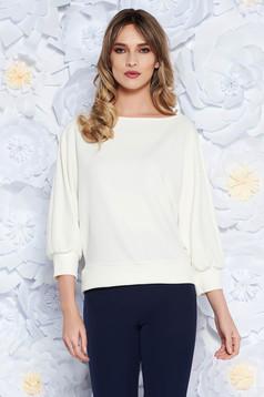 Bluza dama StarShinerS alba office cu croi larg din material elastic cu maneca 3/4