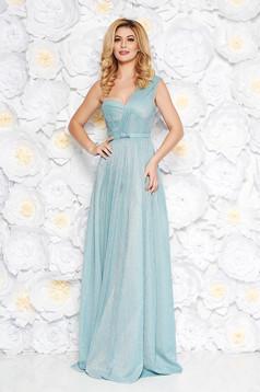 Rochie Ana Radu albastra-deschis de lux in clos din tesatura metalica cu luciu captusita pe interior accesorizata cu cordon