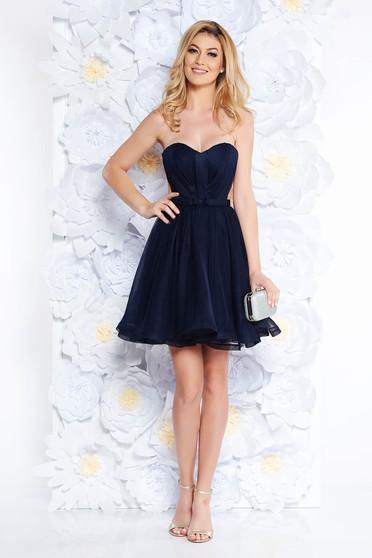 Rochie Ana Radu albastra-inchis de lux tip corset din tul captusita pe interior cu bust buretat accesorizata cu cordon