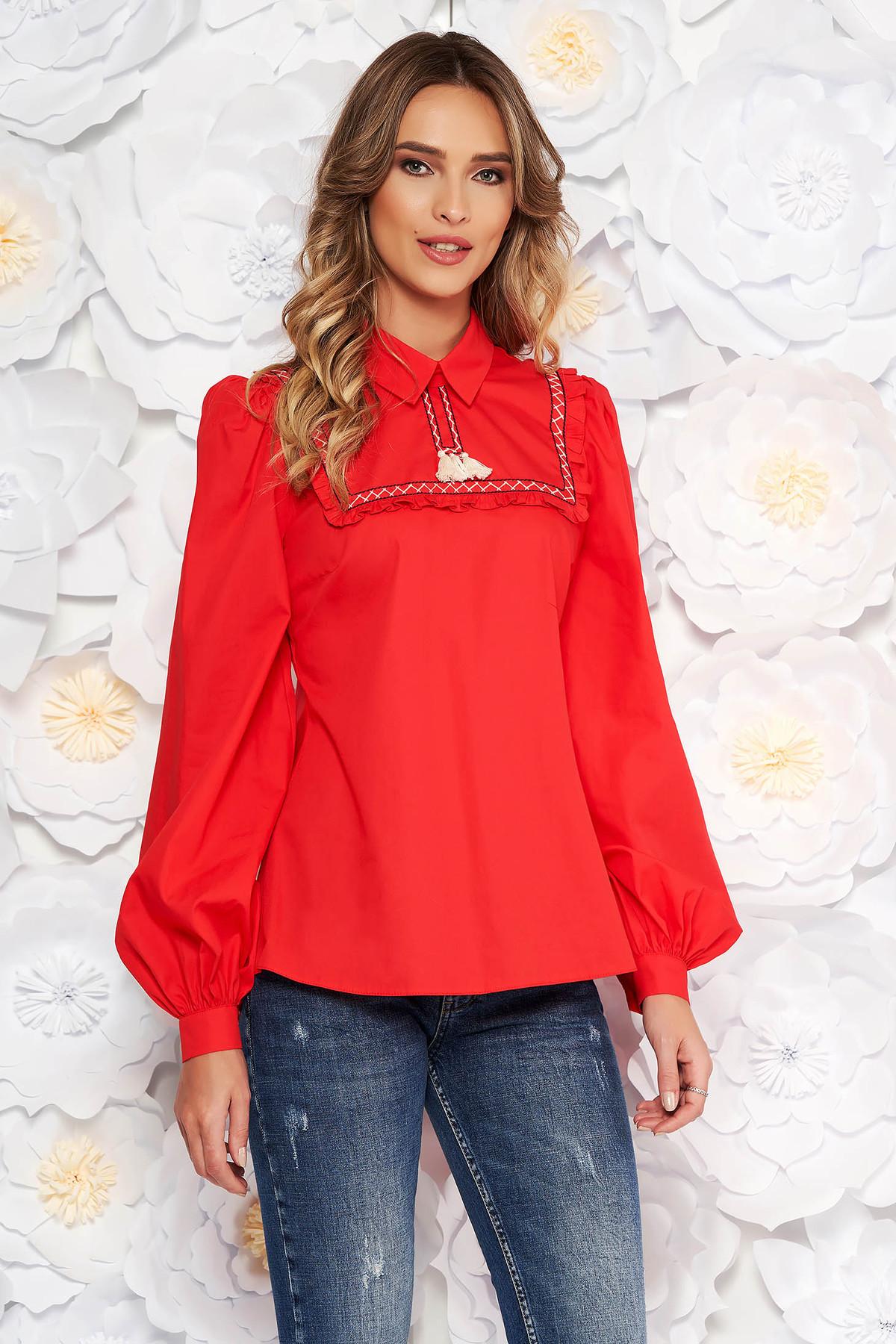 Bluza dama LaDonna rosie casual cu croi larg din bumbac neelastic cu ciucuri