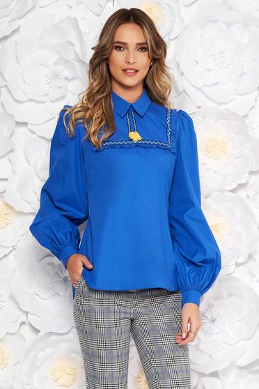 Bluza dama LaDonna albastra casual cu croi larg din bumbac neelastic cu ciucuri