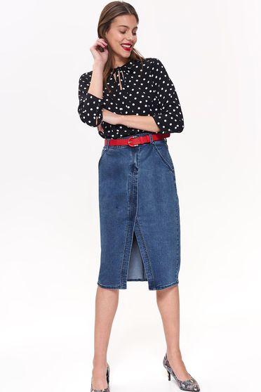 Bluza dama Top Secret neagra casual cu croi larg cu maneca 3/4 din material vaporos cu buline