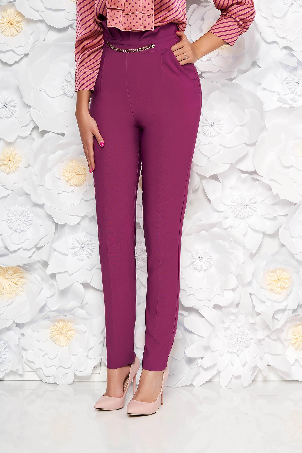 Pantaloni PrettyGirl mov eleganti cu talie inalta din stofa usor elastica cu aplicatii metalice aurii