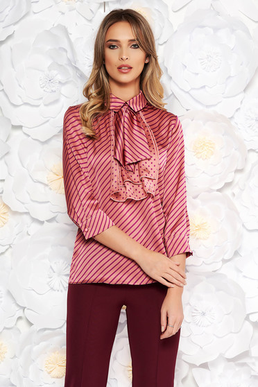 Bluza dama PrettyGirl mov eleganta cu croi larg din material satinat cu guler tip esarfa