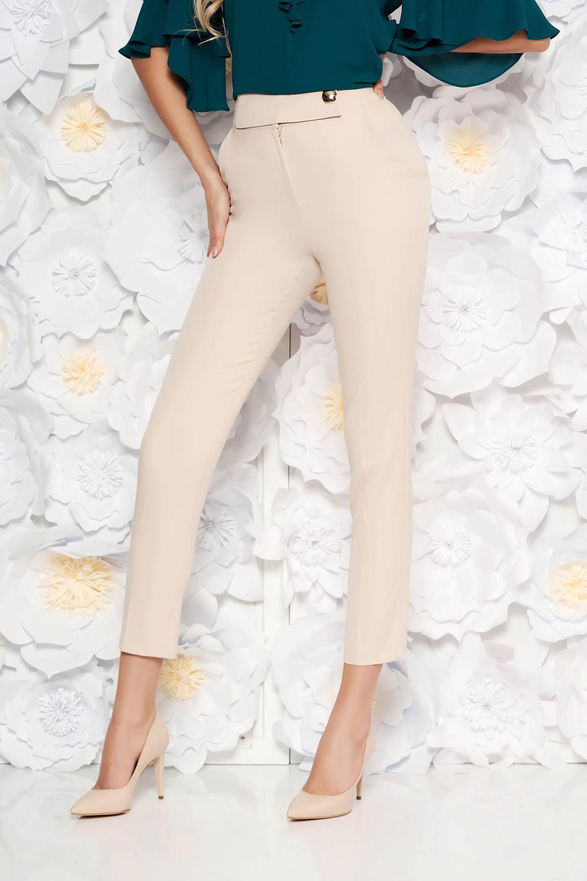 Pantaloni PrettyGirl rosa office conici cu talie inalta din stofa usor elastica cu buzunare