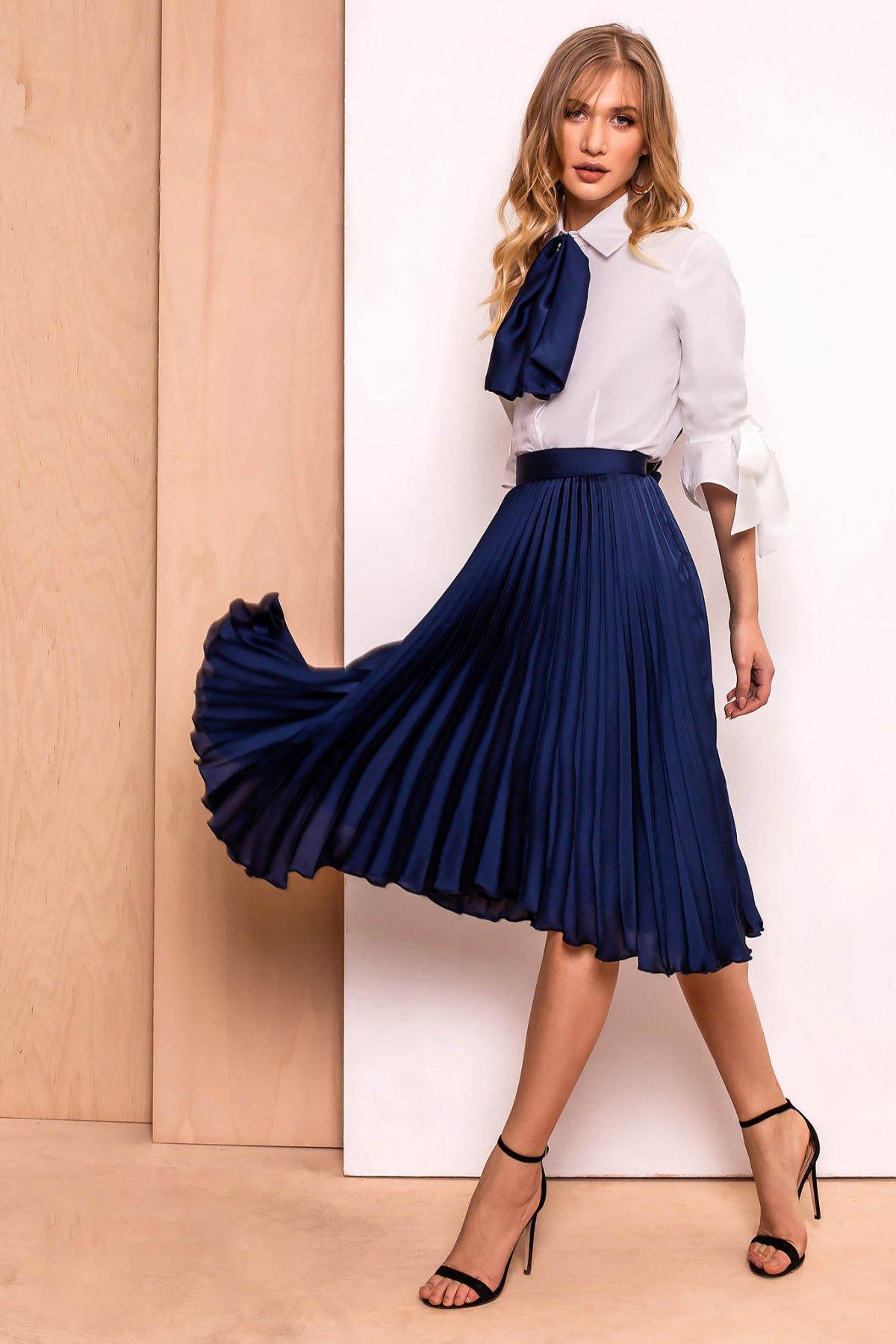 Fusta PrettyGirl albastra-inchis eleganta in clos plisata cu talie inalta
