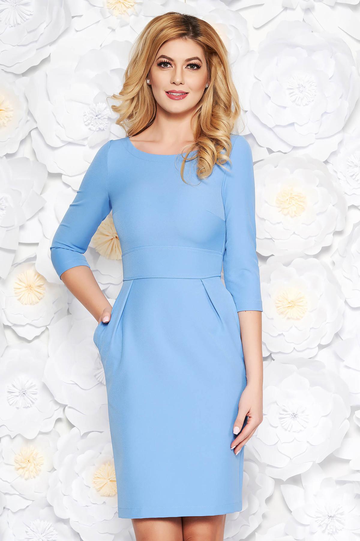 Rochie StarShinerS albastra office din stofa usor elastica cu buzunare
