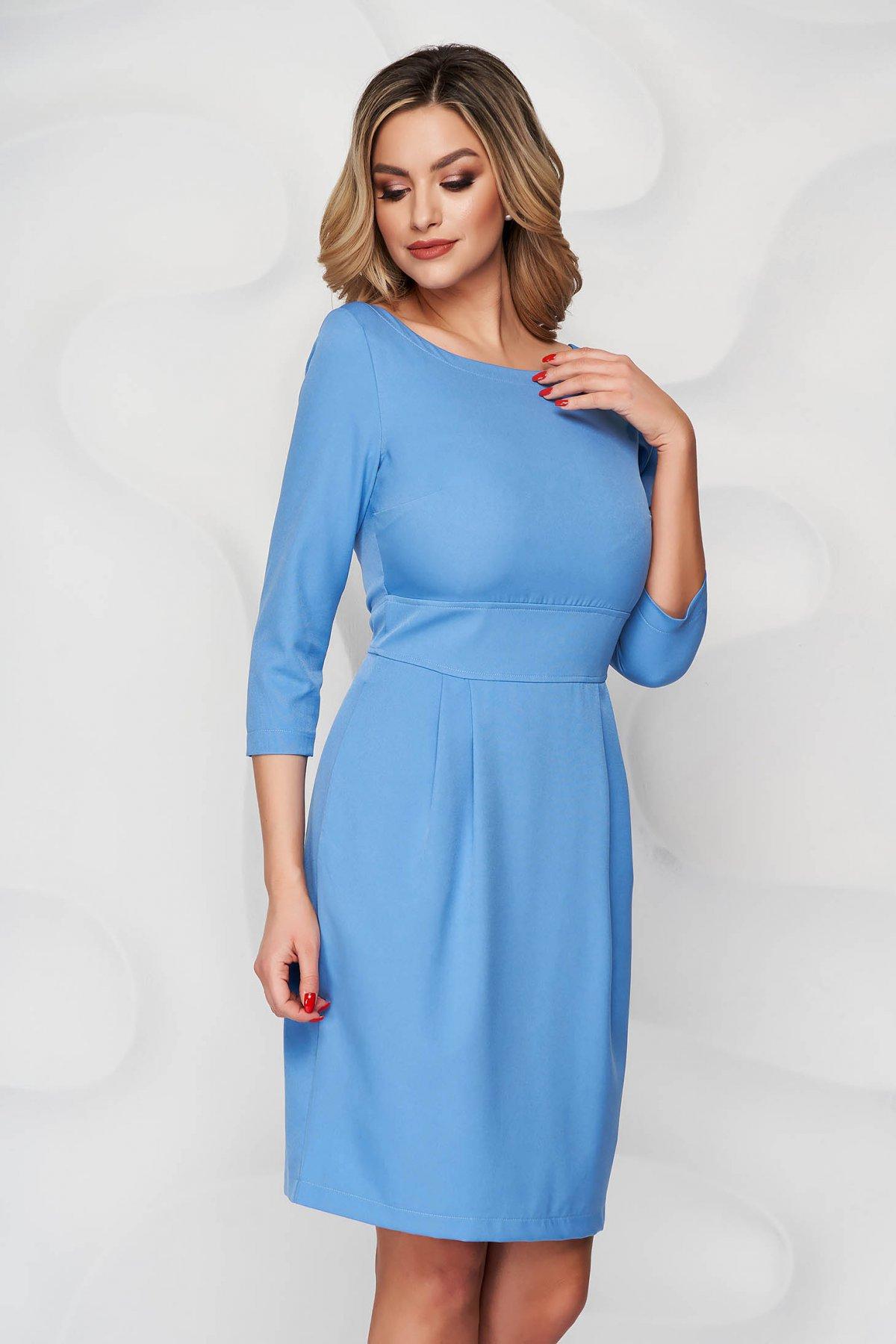 Rochie StarShinerS albastra scurta din stofa usor elastica cu croi in a si buzunare - medelin.ro
