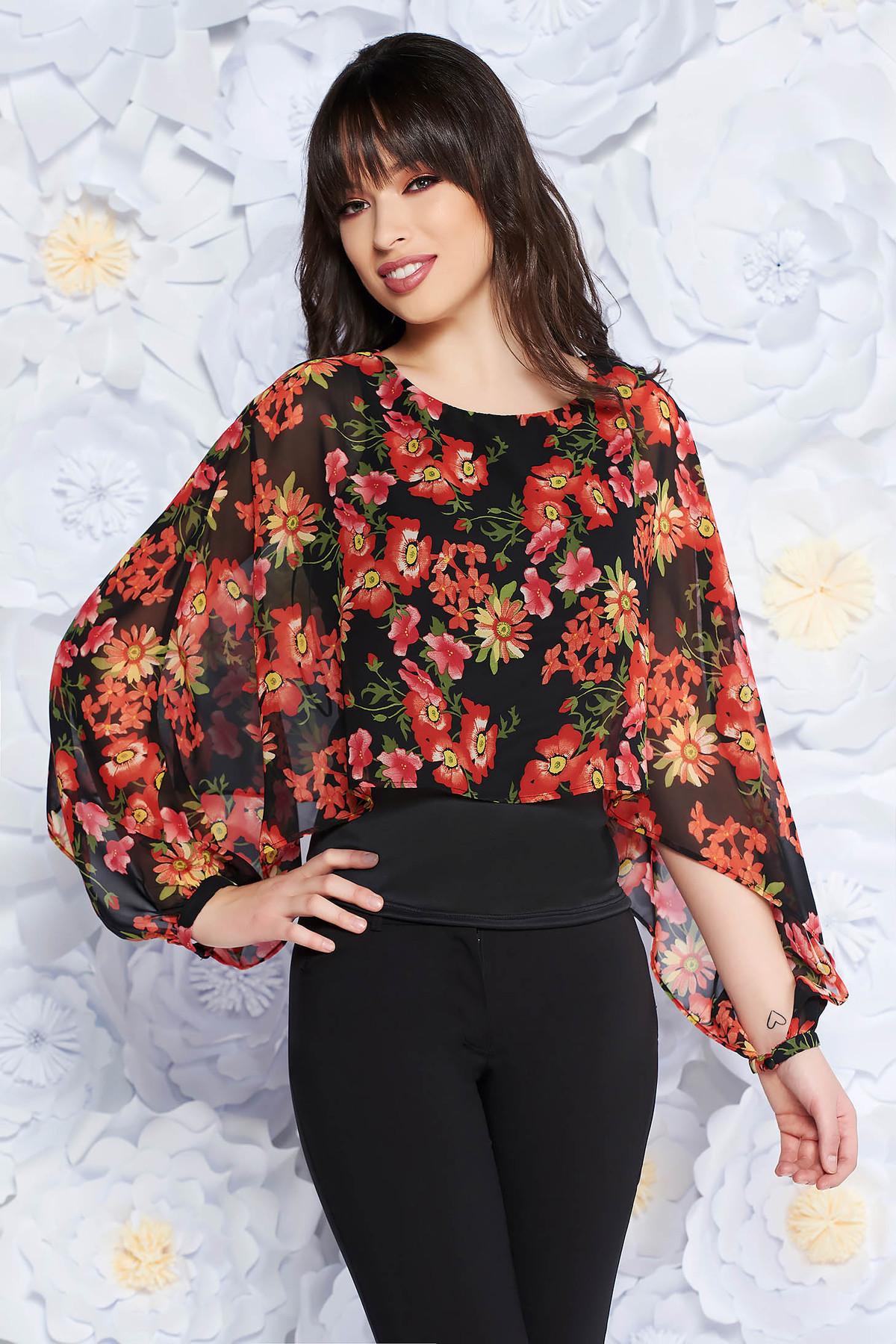 Bluza dama StarShinerS neagra eleganta din material vaporos si transparent captusita pe interior cu imprimeuri florale