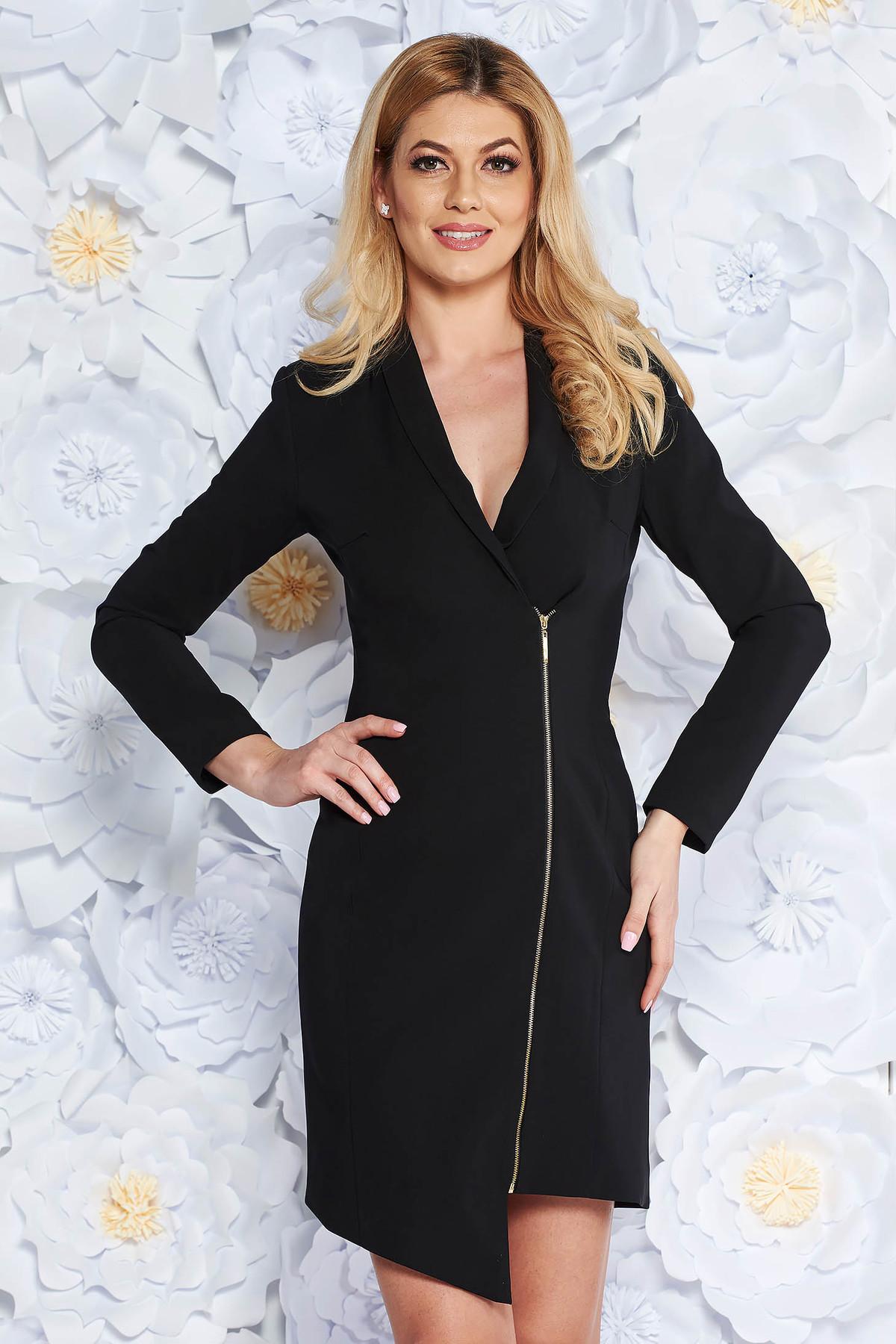 Rochie LaDonna neagra eleganta tip sacou din stofa neelastica captusita pe interior cu maneci lungi