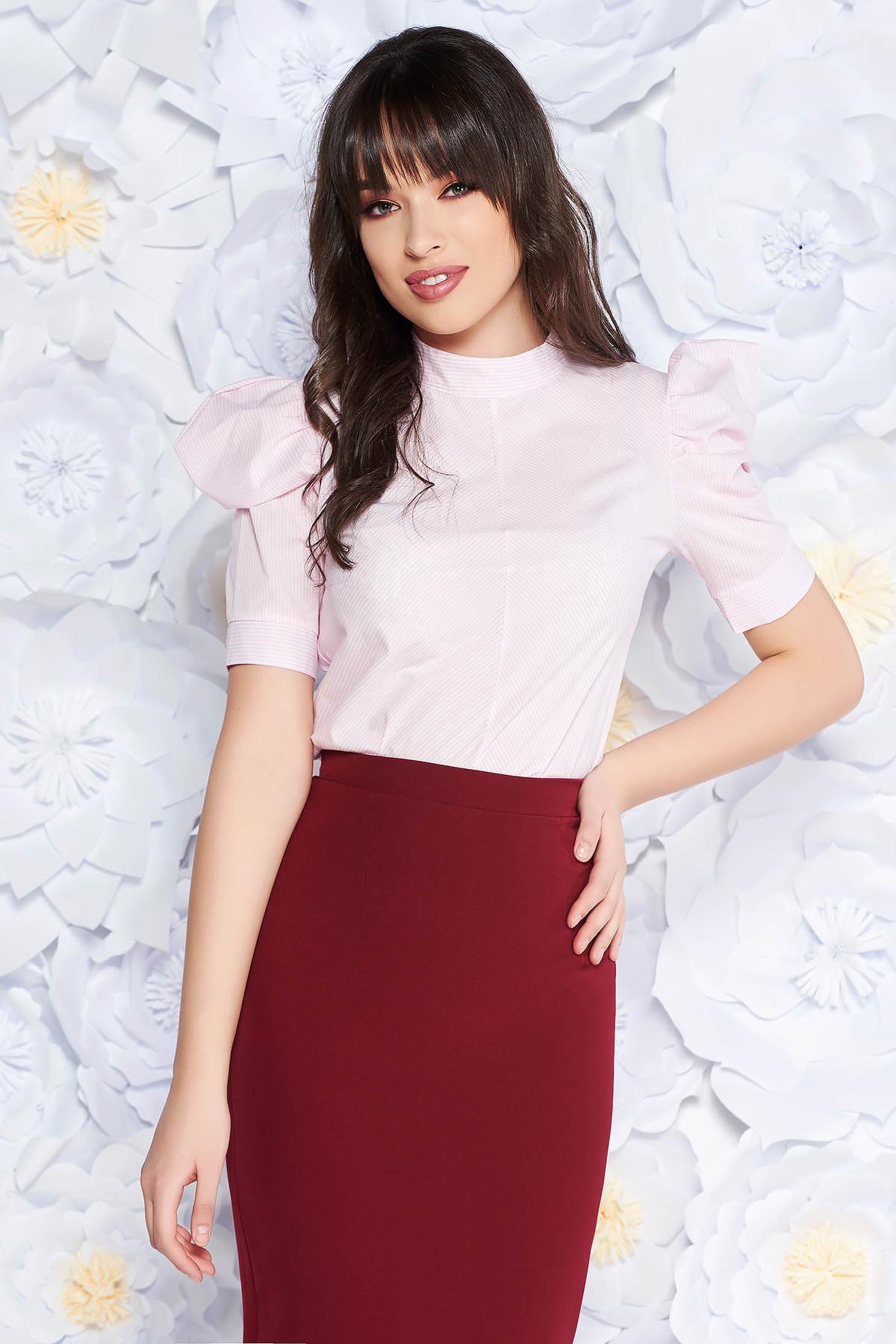 Bluza dama PrettyGirl roz deschis office cu croi larg din bumbac neelastic cu maneci bufante