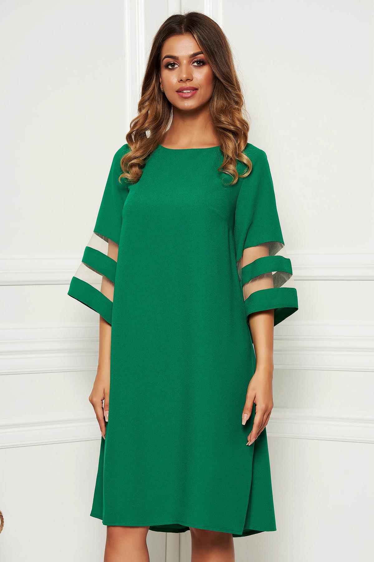 Rochie verde eleganta cu croi larg din stofa neelastica cu maneci largi