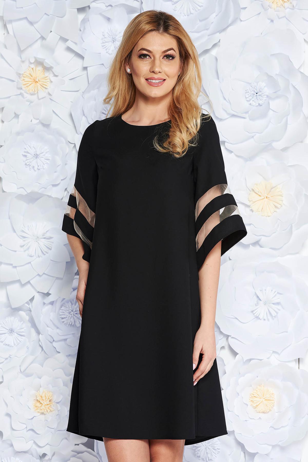 Rochie neagra eleganta cu croi larg din stofa neelastica cu maneci largi